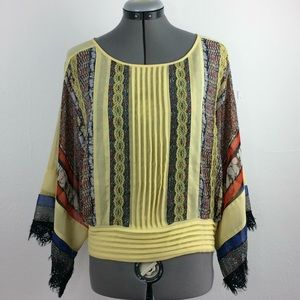 Ryu vibrant colorful kimono top w/elastic waist- L